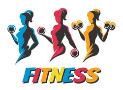 Three Colorful Women Holding Weight.Bodybuilder Logos Templates Set. Fitness Logo Design, Emblem Graphics. Vector Illustration.