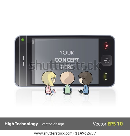 Three kids watching TV y a phone. Isolated vector background design.