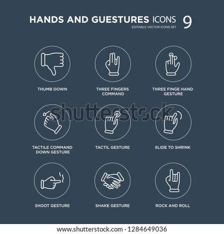 9 Thumb down, Three fingers command, Shoot gesture, Slide to shrink, Tactil finge hand gesture modern icons on black background, vector illustration, eps10, trendy icon set.