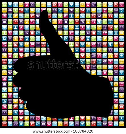 Thumb up hand in smartphone app icon set seamless pattern  Vector file layered for easy manipulation and customisation