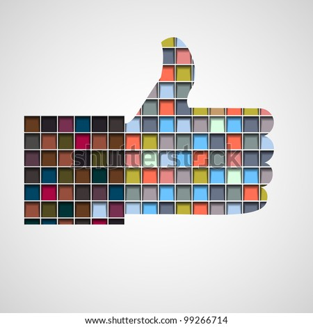 Thumb up- Like made of colorful blocks.Vector eps10