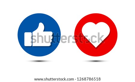 Thumbs up and heart icon in blue and red circle, on a white background. facebook, facebook icon, social media icon, empathetic emoji reactions