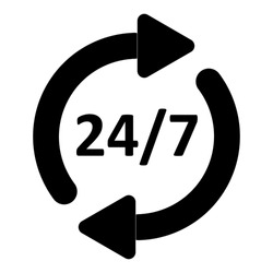 24/7 time icon isolated on white background. Arrows with 24/7 text. EPS10 vector illustration for design element, call center service, business, template, helpline banner.