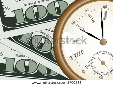 """time - money"" concept - vector illustration - pocket watch on one hundred dollars background"