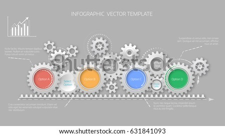 Timeline concept with gears elemets. 4 options. Infographic template. Cover design. eps 10 vector illustration.