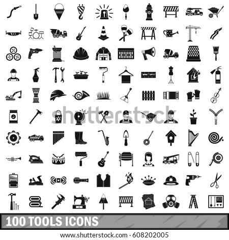 100 tools icons set in simple style. Illustration of tools icons set isolated vector for any design