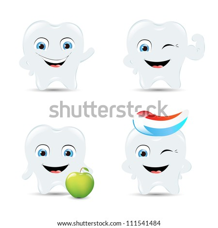 4 Tooth Icons, Isolated On White Background, Vector Illustration