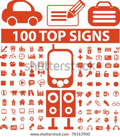 100 top icons, signs, vector illustrations - stock vector