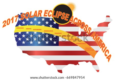 2017 Total Solar Eclipse Across America Usa Map Color Vector Ilration