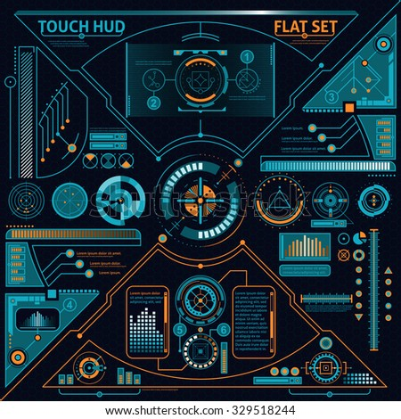 Touch HUD flat set with diagrams and charts on black background isolated vector illustration