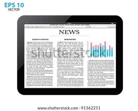 touch screen tablet pc with business article. vector