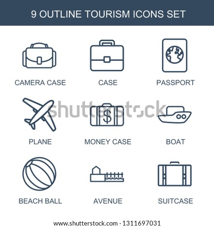 9 tourism icons. Trendy tourism icons white background. Included outline icons such as camera case, case, passport, plane, Money case, boat, beach ball. tourism icon for web and mobile.