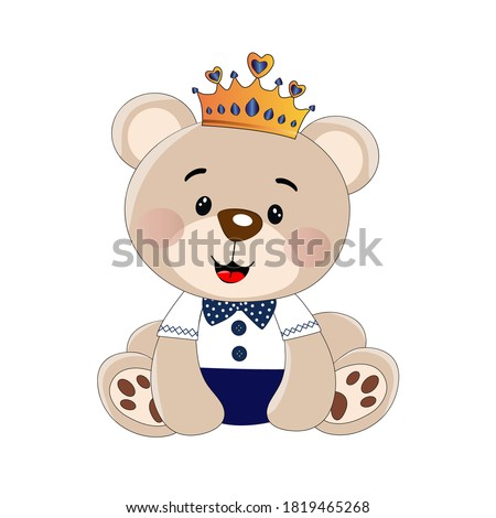 toy with bow tie.cute toy bear flat vector illustration. Little teddy bear character isolated on white background.Vector illustration. EPS 10.
