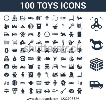 100 Toys universal icons set with Car toy, Thinking game Rocking horse Spinner Plane Puppy Guitar Digger Bouncy castle toy