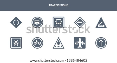 10 traffic signs vector icons such as ahead only, airport, barrier, bicycle, biological hazard contains bridge road, bump, bus stop, caravan, circular intersection. traffic signs icons