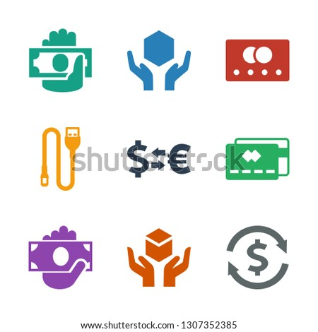 9 transfer icons. Trendy transfer icons white background. Included filled icons such as money exchange, handle with care, money in hand, credit card. transfer icon for web and mobile.