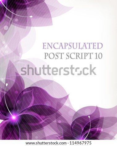 Transparent lilac flowers on a white background with place for text