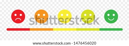 Transparent rating scale in the form of mood emoticons. Feedback or rating. Vector illustration EPS 10 Foto stock ©