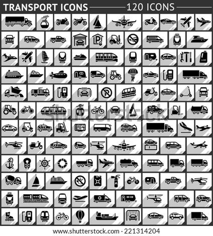 120 Transport flat icon, gray color