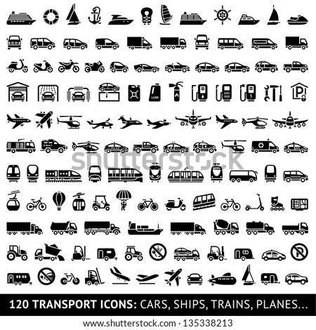 120 Transport icons: Cars, Ships, Trains, Planes, vector illustrations, set silhouettes isolated on white background.