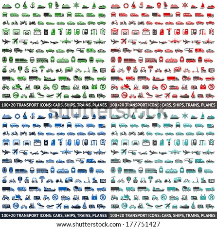 480 Transport icons: Cars, Ships, Trains, Planes, vector illustrations, set silhouettes isolated on white background.
