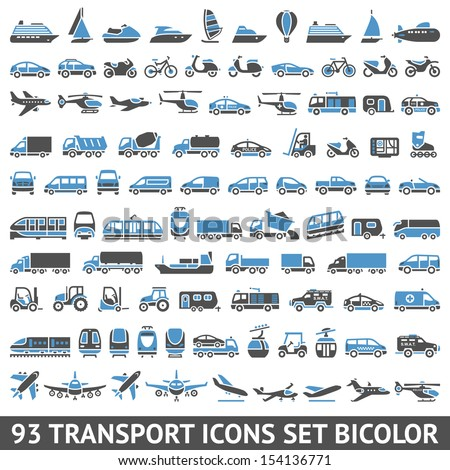 93 Transport icons set bicolor (blue and gray colors), vector illustrations, silhouettes isolated on white background