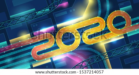 2020 transport interchange in night neon city top view. New Year banner with urban futuristic architecture in vibrant colors, modern megapolis with glowing infrastructure. Cartoon vector illustration