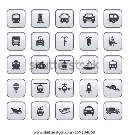 Transportation icon set on gray