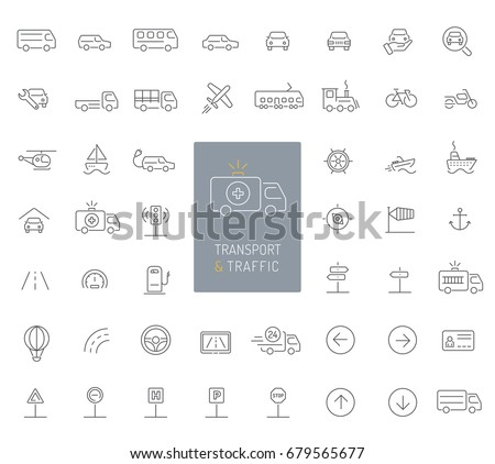 50 transportation, traffic and vehicles thin line icons