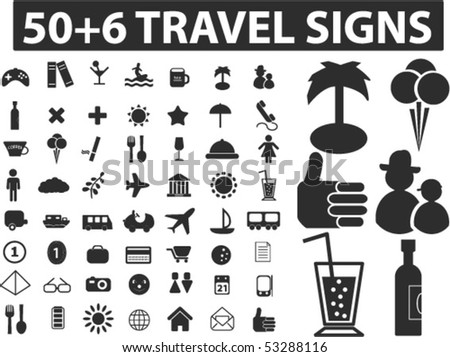 50+6 travel black signs. vector