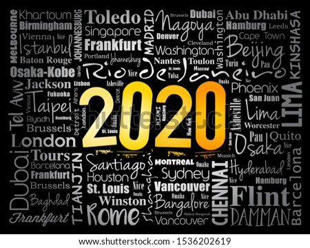 2020 travel cities word cloud collage, trip destinations concept background