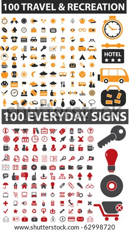 200 travel & everyday signs. vector - stock vector
