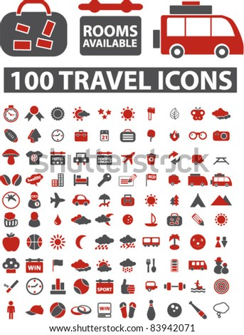 100 travel icons, signs, vector illustration