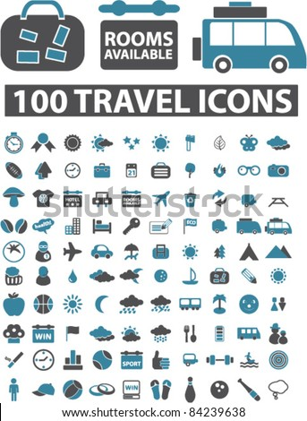 100 travel icons, signs, vector illustrations set