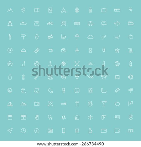 100 travel minimal line icons