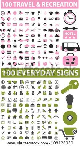 200 travel & recreation & everyday icons set, vector