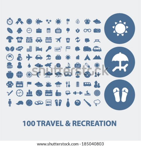 100 travel & recreation icons