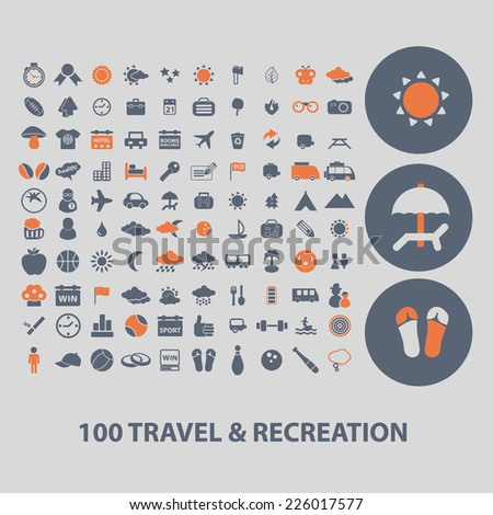100 travel, recreation icons, signs, illustrations set, vector