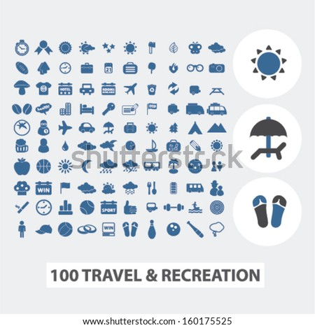 100 travel & recreation, tourism icons set, vector