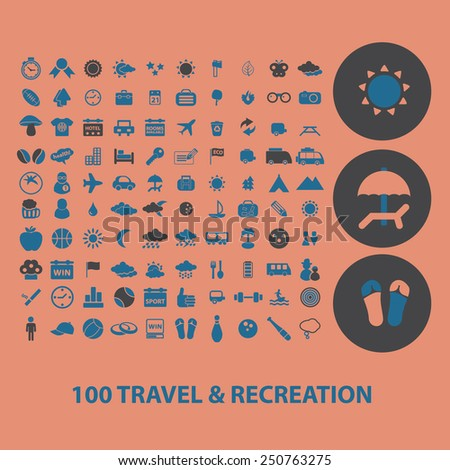 100 travel, recreation, tourism icons, signs, illustrations set, vector