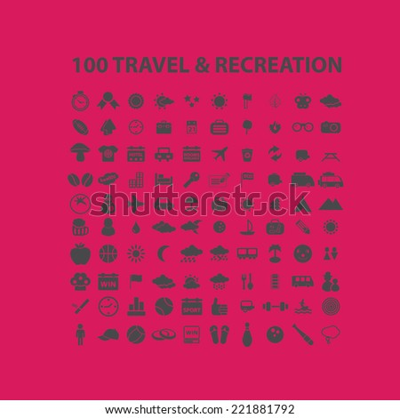 100 travel, recreation, tourism icons, signs, illustrations, silhouettes set, vector
