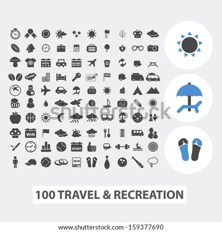 100 travel, tourism & recreation, vacation icons, signs set, vector