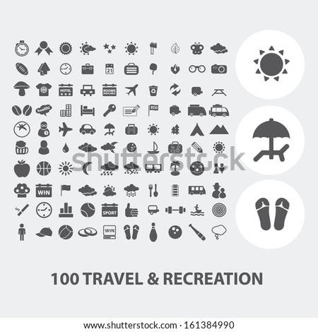 100 Travel, Tourism, Vacation Icons Set, Vector