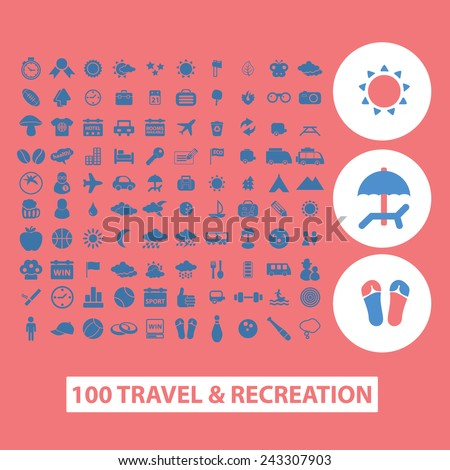 100 travel, tourism, vacation, recreation icons, signs, symbols, illustrations set on background, vector