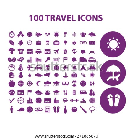 100 travel, vacation, recreation icons, signs, illustrations set, vector