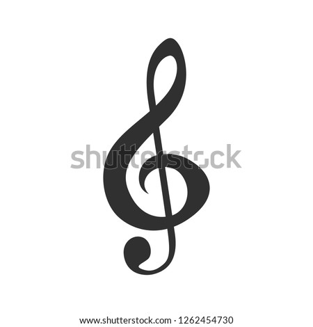 Treble clef. Black flat design. Vector Illustration