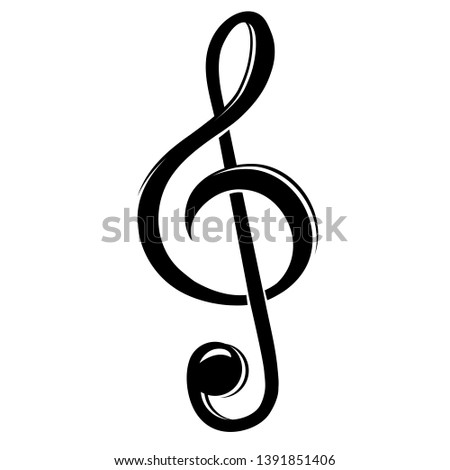 Treble clef, icon. Musical design element, musical note. Simple treble clef vector Isolated on white background