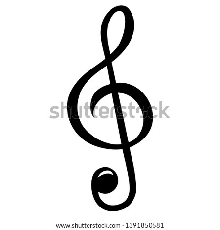 Treble clef, icon. Simple treble clef vector Isolated on white background