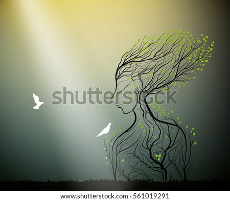 tree looks like woman with