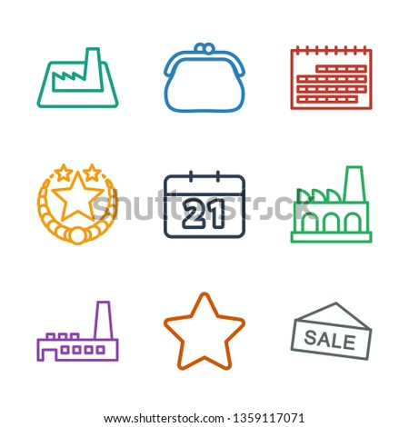 9 trendy icons. Trendy trendy icons white background. Included outline icons such as sale, star, factory, calendar, purse. icon for web and mobile.